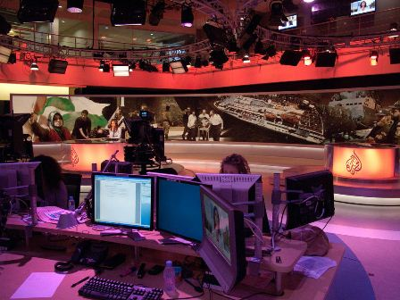 at the al jazeera broadcast center in doha, qatar