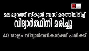 മലപ്പുറത്ത് സ്കൂള് ബസ് മരത്തിലിടിച്ച് വിദ്യാര്ത്ഥിനി മരിച്ചു;40 ഓളം വിദ്യാര്ത്ഥികള്ക്ക് പരിക്ക്
