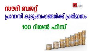 സൗദി ബജറ്റില് പ്രവാസി കുടുംബാംഗങ്ങള്ക്ക് പ്രതിമാസം  100 റിയാല് ഫീസ്